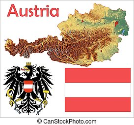 Austria map flag coat