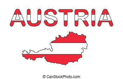 austria map flag design isolated on white background