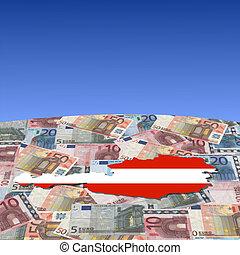 Austria map flag on euros