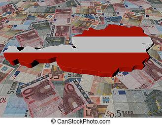 Austria Map flag on Euros illustration