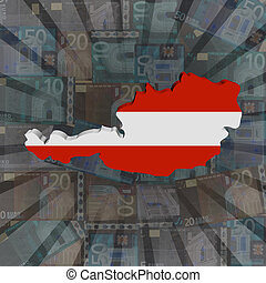 Austria map flag on euros sunburst illustration