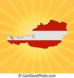 Austria map flag on sunburst illustration