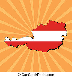 Austria map flag on sunburst