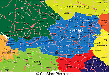 Highly detailed vector map of Austria with administrative regions, main cities and roads.