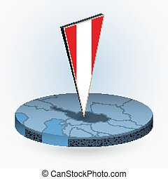 Austria map in round isometric style with triangular 3D flag of Austria