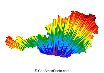 Austria - map is designed rainbow abstract colorful pattern