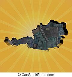 Austria map on euros sunburst illustration