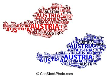 Austria map - Sketch Austria letter text map, Map Republic...