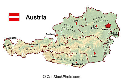 Austria Map - Topographic map of Austria in Europe with...