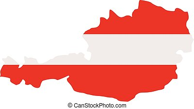 Austria map with flag