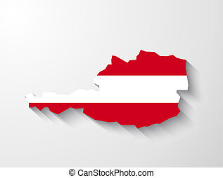 Austria map with shadow effect