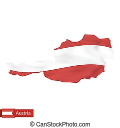 Austria map with waving flag of Austria.