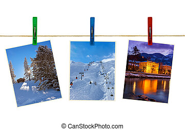 Austria mountains ski photography on clothespins