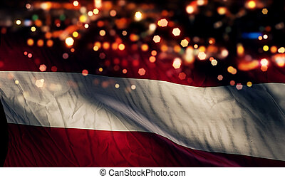 Austria National Flag Light Night Bokeh Abstract Background