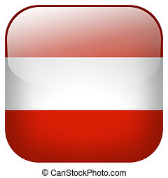 Austria national flag square button isolated on white background