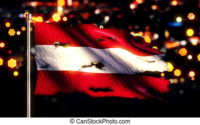 Austria National Flag Torn Burned War Freedom Night 3D