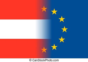 Austria national flag with a circle of EU