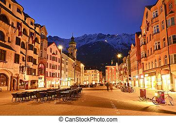 austria., noite, cena, innsbruck