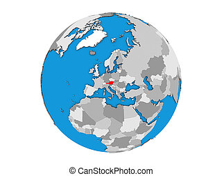 Austria on 3D globe isolated