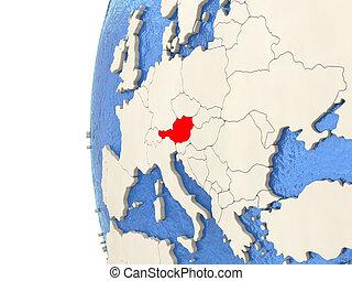 Austria on 3D globe