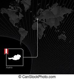 Austria on black World Map. Map and flag of Austria.
