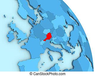 Austria on blue political globe