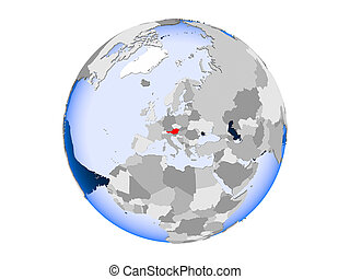 Austria on globe isolated