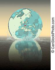 Austria on globe splashing in water