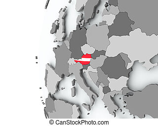 Austria on globe with flag