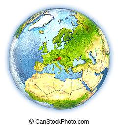Austria on isolated globe