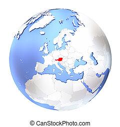 Austria on metallic globe isolated