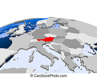 Austria on political globe