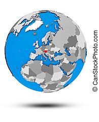 Austria on political globe isolated