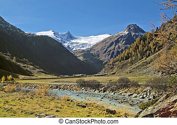 Austria, the Gschloesstal Valley in East Tyrol near Matrei village is one of the most beautiful valleys in the Hohe Tauern national park in the Austrian Alps and a popular hiking area