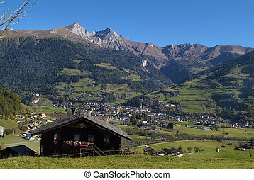 Austria, view to village Matrei with Goldried mountain in the Austrian Alps