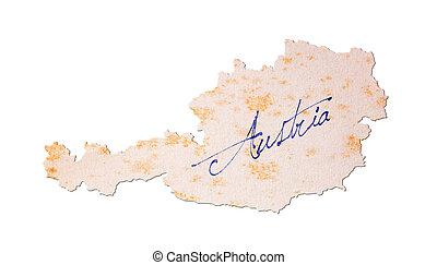 austria-, oud, papier, met, handschrift