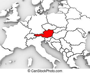 austria, paese, astratto, 3d, mappa, europa, continente