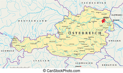 Austria Political Map - Political map of Austria with the...