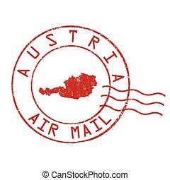 Austria post office, air mail stamp