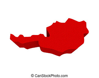 Austria Red 3d Europe Map Isolated