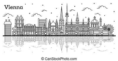 austria, riflessioni, isolato, costruzioni storiche, orizzonte, città, vienna, white., contorno