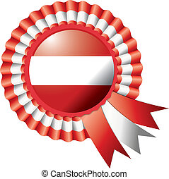 Austria rosette flag - Austria detailed silk rosette flag,...