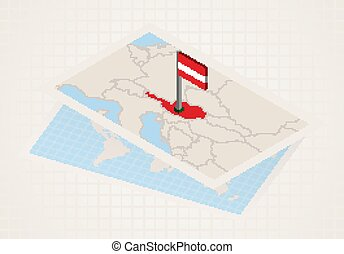 Austria selected on map with isometric flag of Austria.