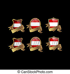 Austria set shiny buttons and shields of flag with metal frame - vector illustration.