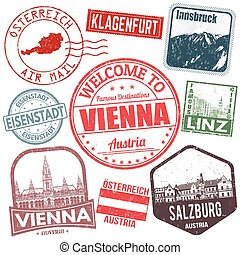 austria, set, viaggiare, francobolli