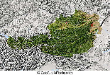 Austria. Shaded relief map. Surrounding territory greyed out. Colored according to vegetation. Includes clip path for the state area.