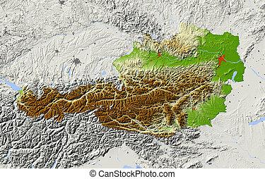 Austria, shaded relief map - Austria. Shaded relief map....