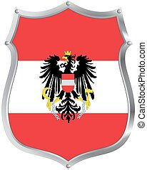 Austria shield - a metal shield with the flag of Austria on ...
