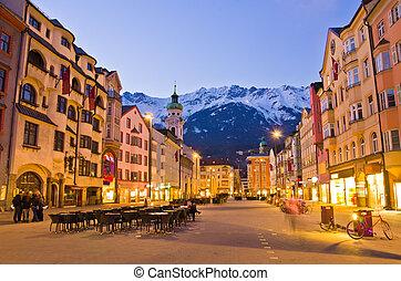 austria., soir, scène, innsbruck