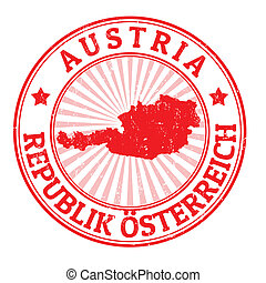 Grunge rubber stamp with the name and map of Austria, vector illustration
